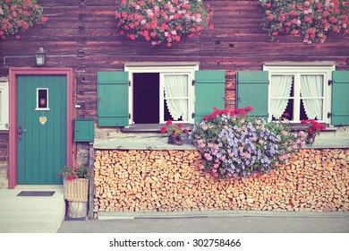 Traditional vintage German country house, facade. Textured filtered image in nostalgic retro style.