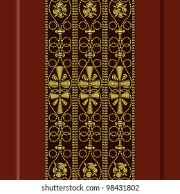 Traditional vintage pattern, gold embroidery: rose, leaves, swirls on a red background