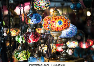 Traditional vintage Turkish lamps over light background in the night. Turkish craft