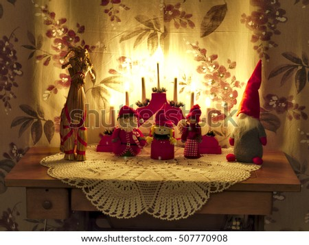 Traditional Vintage Xmas Decorations On Table Stock Photo Edit Now