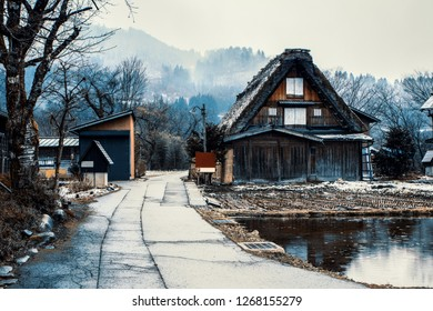 Traditional Wada House in Shirakawa-go, one of the world herritage, during the winter