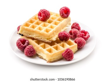 Traditional waffle (Belgian) with fresh raspberries on a saucer isolated on white background two sweet delicate and airy delicious breakfast