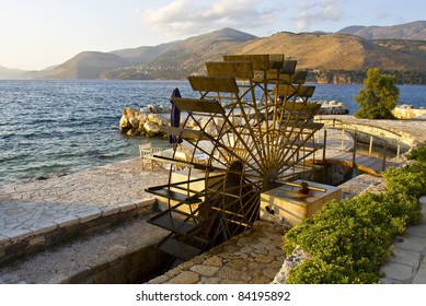Traditional water mill at the sinkholes on Lassi area of Kefalonia island in Greece