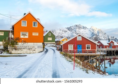 traditional waterfront cottages lofoten islands, norway