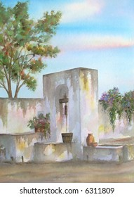 "Traditional Water-Well, of the Mexican Hacienda ""La Cieneguilla"", Aguascalientes, Mexico # 92-080; 28x43 cm. = 11""x17"""