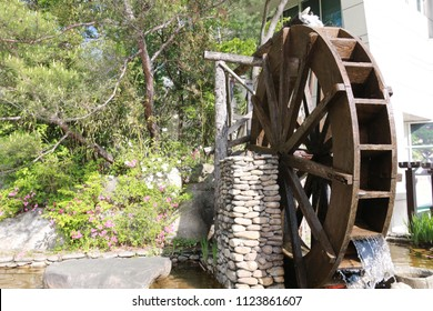 traditional waterwheel with water