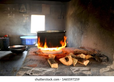 Traditional way of cooking food on fire in  village