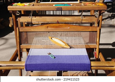 Traditional weaving hand loom for carpets in Bulgaria
