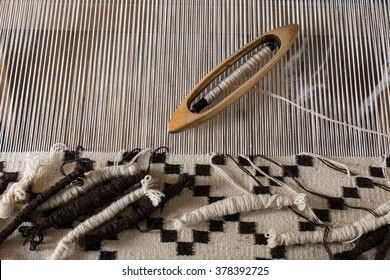 Traditional weaving hand-loom for carpets in Transylvania. Hungarian homespun weaving.