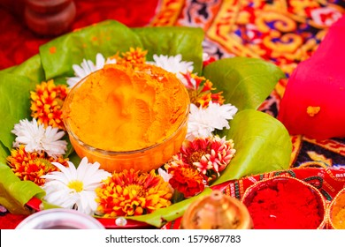 Traditional  wedding ceremony in Hinduism: Turmeric in glass bowl for haldi ceremony