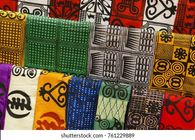 Traditional West African fabric for sale at a market in Ntonso, Ghana, West Africa