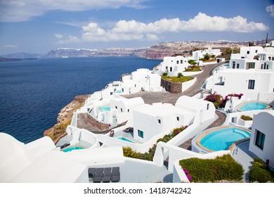 traditional white architecture over the Caldera, Aegean sea. Scenic travel background, Santorini