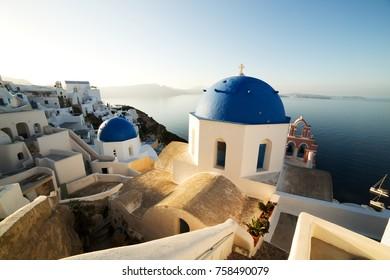 Traditional White Architecture at Sunrise in Oia on Santorini Island