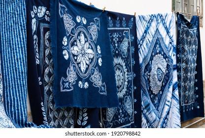 Traditional white and blue tie-dye fabrics of Bai ethnic minority in Zhoucheng Village Dali Yunnan China