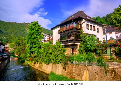 Traditional white bosnian house in ottoman style, Travnik Old Town, Bosnia and Herzegovina