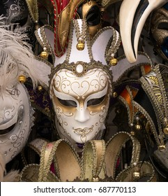 traditional white carnival mask in Venice, sold in the streets everywhere, a symbol of Venice, a good souvenir or present