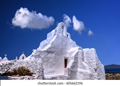 Traditional white Greek church of Paraportiani in Mykonos island, Cyclades, Greece