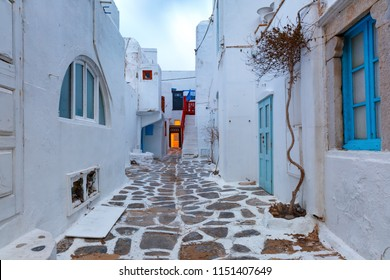 Traditional white houses in Mykonos City, Chora, on the island Mykonos, The island of the winds, at sunrise, Greece