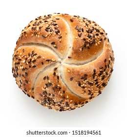 Traditional white kaiser roll with linseeds and sesame seeds isolated on white. Top view.