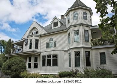 Traditional White Victorian House in Sydney on Cape Breton Island, Nova Scotia, Canada