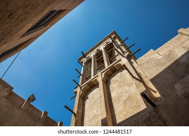 traditional wind tower of old traditional Emirati house in Al Seef Dubai