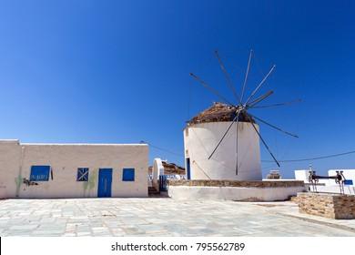 Traditional windmill in Chora, Ios island, Greece