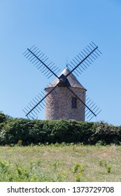 Traditional windmill made in stones in Plogoff