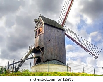 A traditional windmill near the village of Bruges, Belgium