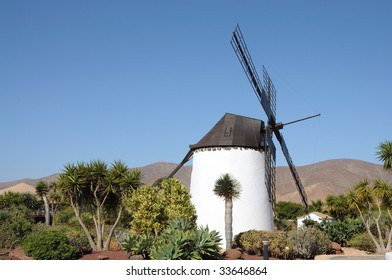 Traditional Windmill on Canary Island Fuerteventura, Spain