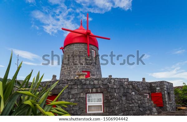 A traditional windmill on Vila da Praia, Graciosa Island, Azores, Portugal