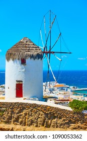 Traditional windmilll in Mykonos Island, Cyclades, Greece