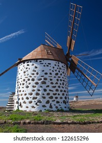 traditional windmills between Villaverde and La Oliva, Fuerteventura, Canary Islands