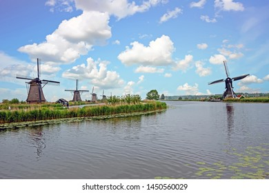 Traditional windmills at Kinderdijk in the Netherlands