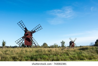 """Traditional windmills on Swedish Baltic sea island Oland. Windmills are a common sight on Oland, which is nicknamed """"the island of the sun and winds""""."""