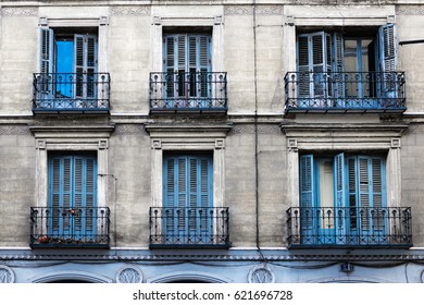 Traditional windows and balconies in Madrid.