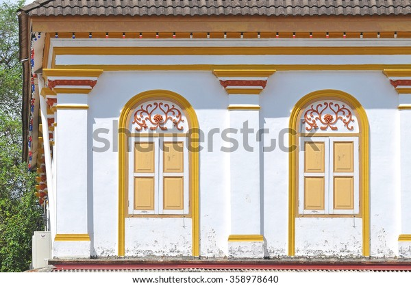 Traditional windows facade, public urban street design, old shophouse at Terengganu, Malaysia.