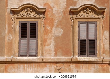 Traditional windows in Spain Square, Rome, Italy