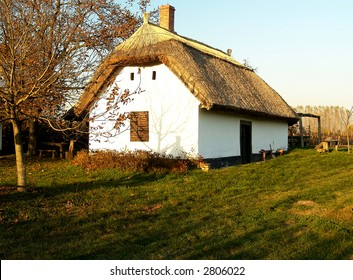 Traditional wine cellar with thatched roof form Buzsak (Hungary)