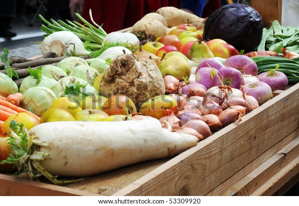 Traditional winter fruit and vegetables on a tray