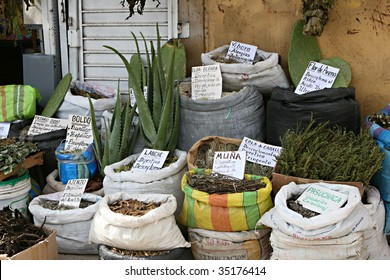 A traditional witches market in Peru sells herbal remedies for any problem