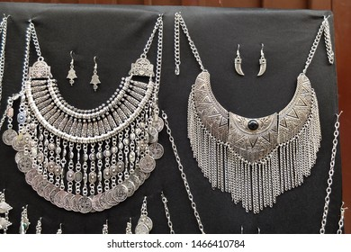 Traditional women's jewelry in Berber, Moroccan and African style. Silver and Turquoise. North Africa. Morocco. March 2018.