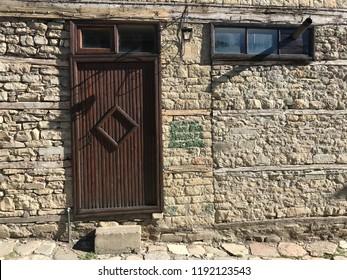 Traditional wood door in Lahij village, Azerbaijan