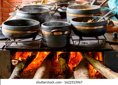 Traditional wood stove preparing typical Brazilian food in the kitchen of a farm