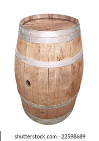Traditional wooden barrel for wine storage, isolated on white background