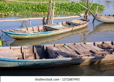 Traditional wooden boats in common water hyacinth in Mekong River Delta of rural Vietnam.