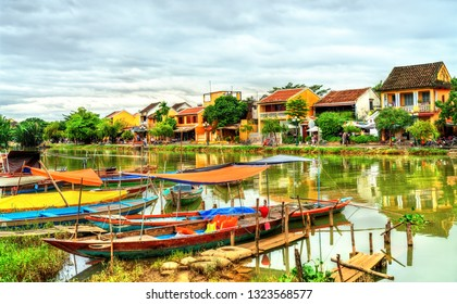 Traditional wooden boats in Hoi An, Vietnam. UNESCO world heritage site