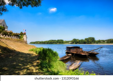 Traditional Wooden Boats outside the Village of Candes-Saint-Martin in the Loire Valley, France, Where the Rivers Vienne and Loire Meet