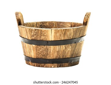 Traditional wooden bucket isolated on white background