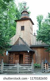 The traditional wooden catholic church in Zakopane resort town (Poland).
