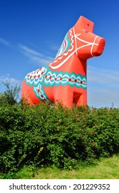 The traditional wooden Dalecarlian Horse symbol of Swedish Dalarna province and Sweden in general